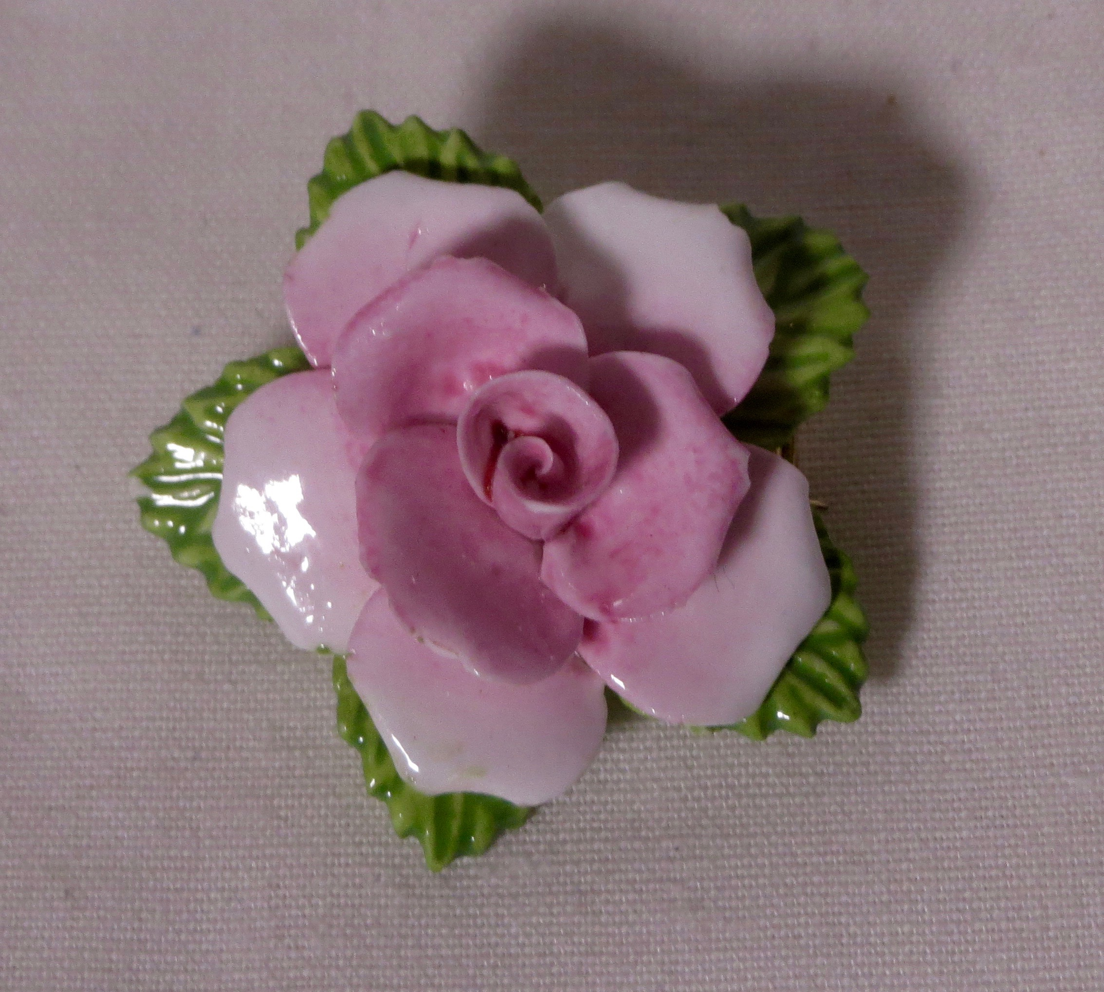 Coalport Fine Bone China Pink Rose Brooch Hand Painted Vees Cave