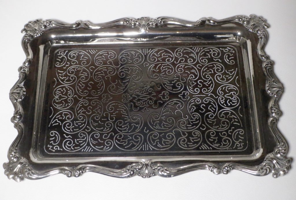 Rectangular Decorative Tray Silver Plated Vees Cave